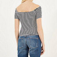 Cream and navy stripe hook bardot top