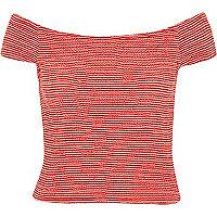 Red stripe shirred bardot top