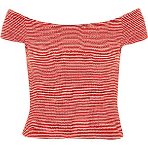 Red stripe shirred bardot top