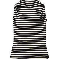 Black stripe sleeveless boat neck top