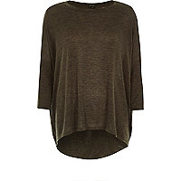 Khaki marl twist back top