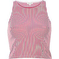 Pink vertical stripe crop top