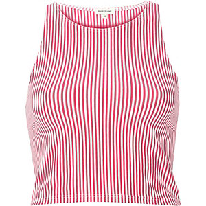 Pink vertical stripe crop top
