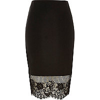 Black lace hem pencil skirt