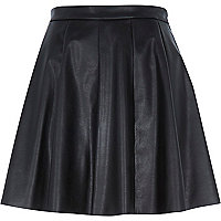 Black leather-look skater skirt