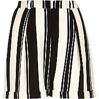 Black and white stripe satin smart shorts