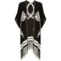 Black and white animal print tassel cover up