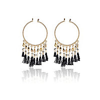 Gold tone black tassel hoop earrings