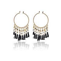 Gold tone black tassel hoop earrings