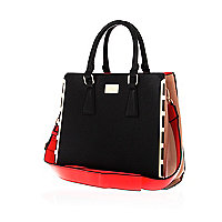Black colour block metal trim tote bag
