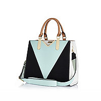 Light green split panel V front tote bag