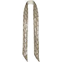 Brown sparkle skinny 70s snake print scarf