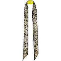 Brown fluro snake print 70s skinny scarf