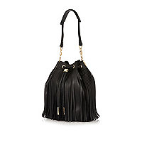Black fringed duffle bag