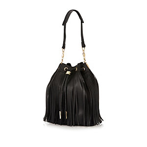 Black fringed duffle handbag