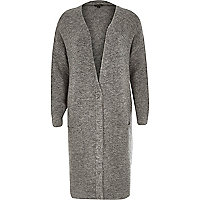 Grey longline mid weight popper cardigan
