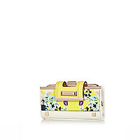 Yellow floral print clip top purse