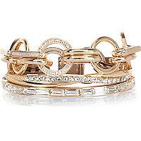 Gold tone chain bracelet pack