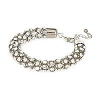 Silver tone diamante encrusted rope bracelet