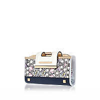 Navy floral clip top purse
