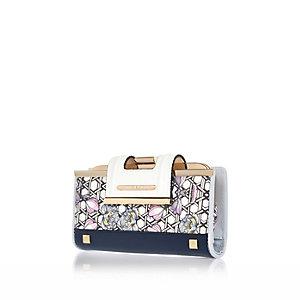 Navy floral clip top purse
