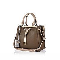 Khaki mini structured handbag