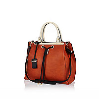 Orange mini structured bag