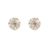 Gold tone pearl encrusted stud earrings