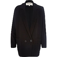 Black jersey twill double breasted jacket