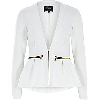 Cream smart peplum jacket