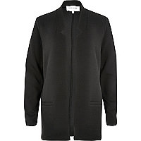 Black jersey inverted collar jacket