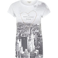 White Fifth Avenue print studded t-shirt