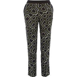 Khaki 60s print cigarette pants