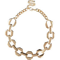 Gold tone chunky link necklace