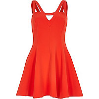 Red double strap flared dress