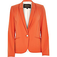 Orange long sleeve fitted tailored blazer
