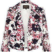 Pink floral jacquard cropped relaxed jacket