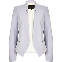 Purple crepe fitted notch collar jacket