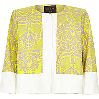 Neon lime print tweed cropped boxy jacket