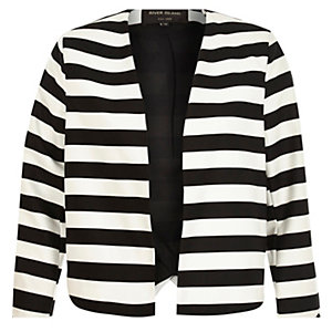 Black white stripe structured cropped jacket