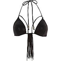 Black Pacha tassel moulded bikini top