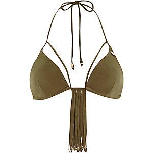 Khaki Pacha tassel moulded bikini top