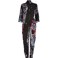 Black Design Forum motor print zip jumpsuit