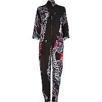 Black Design Forum motor print zip jumpsuit