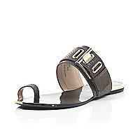 Dark brown buckle loop toe sandals