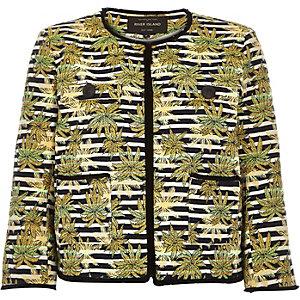 Green jacquard leaf print boxy jacket