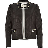 Black leather-look fitted blazer