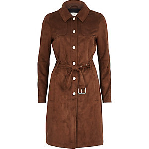 Dark brown faux suede trench coat