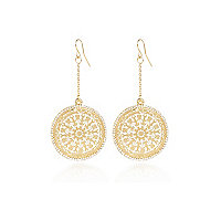 Gold tone delicate filigree dangle earrings