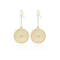 Gold tone delicate filigree dangle earrings